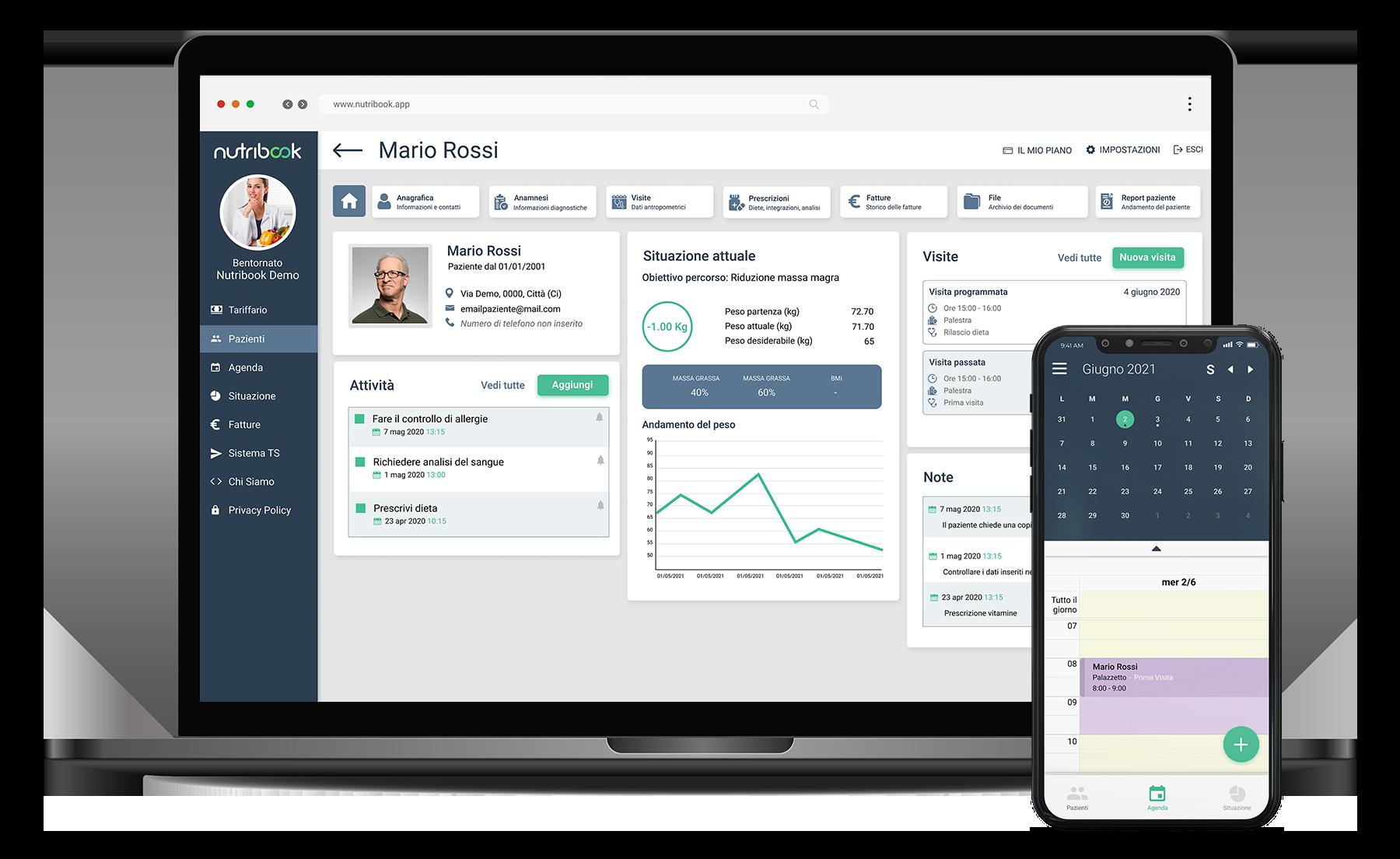 Nutribook web e mobile